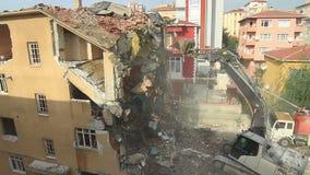 Apartment building demolition stock video footage