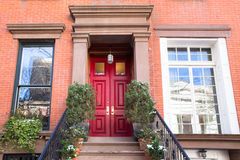Red Door Apartment Building New York City Stock Photography