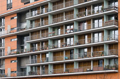 Apartment building with exterior balconies Royalty Free Stock Photography