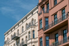 Apartment building facade Berlin,. Restored building facade , apartment building in Berlin Royalty Free Stock Images