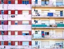 Apartment Building Facade. Facades of two poor apartment buildings in La Boca neighborhood of Buenos Aires Stock Image