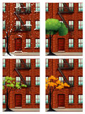 Apartment building in four seasons Royalty Free Stock Photo