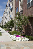 Apartment building with garden stock image
