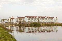 Apartment building at the Gulf of Mexico coast in Texas. Vacation condominiums building at the Gulf of Mexico in Galveston Island. Texas, United States Stock Photo