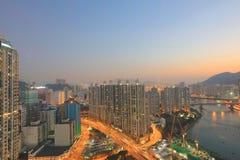 Apartment building in Hong Kong at night Stock Photography
