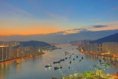 Apartment building in Hong Kong at night Stock Photo