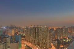 Apartment building in Hong Kong at night Royalty Free Stock Images
