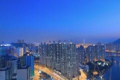 Apartment building in Hong Kong at night Stock Photos