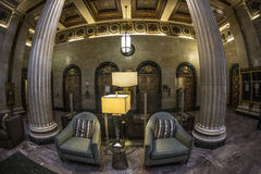 Apartment Building Lobby. Lobby of an Apartment Building in Los Angeles, fisheye view Stock Photo