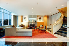 Apartment building main lobby area. Royalty Free Stock Photo