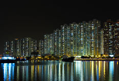 Apartment building at night Stock Image