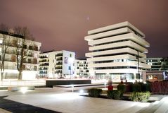 Apartment. Building, protected,  building, the building at night, protected housing, warsaw, artistic building, city, city by night royalty free stock images
