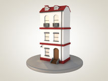 Apartment building. Red and white apartment building. 3D rendering Royalty Free Stock Photos