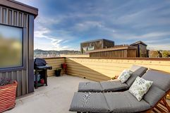 Apartment building roof top terrace exterior. Apartment building roof top terrace exterior with modern living area Stock Images