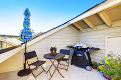 Apartment building roof top terrace exterior. Royalty Free Stock Photography