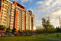 Apartment building in shanghai. Apartment building or block of flats in shanghai in a nice day Royalty Free Stock Images