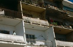 An apartment building show war damage in Angola Royalty Free Stock Image