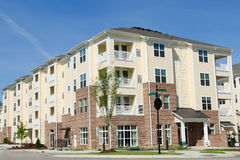 Apartment building in suburban area. Newly finished typical apartment building in suburban area Stock Images