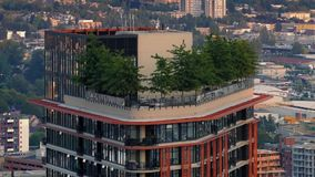 Apartment Building With Trees On Top In The City. Modern apartment highrise building with trees on terrace roof stock footage
