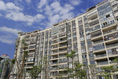 Apartment building under blue sky Royalty Free Stock Image
