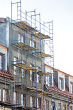 Apartment building under construction. scaffolding on building  Stock Photo