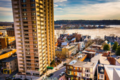 Apartment building and view of neighborhoods along the Susquehan Stock Photo