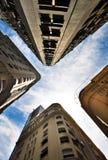 Rio de Janeiro. Looking up between four apartment buildings in downtown Rio de Janeiro stock image