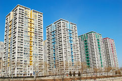 Apartment buildings. A group of apartment buildings with attractive color, shot at soho modern city, Beijing. China Stock Photo
