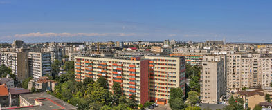 Apartment buildings in Bucharest. Aerial view over Bucharest, apartment buildings constructed during communism era, some of them with renovated facade Royalty Free Stock Images