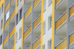 Apartment buildings closeup. Detail of balconies in a block of flats Stock Photography