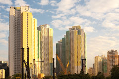 Apartment buildings and construction site Stock Image