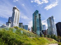 Apartment buildings in downtown Vancouver`s Coal Harbour. stock images