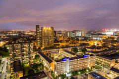 Apartment buildings in East London at night Royalty Free Stock Image
