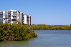Apartment buildings on  florida coast Royalty Free Stock Photo