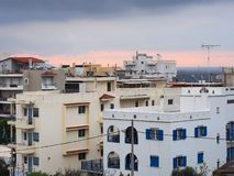 Apartment Buildings, Greece. Apartments at dawn, Rafina, Attica, Greece, high density living stock photos