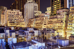 Apartment buildings in Hong Kong. Apartment buildings at night in Hong Kong Royalty Free Stock Photo