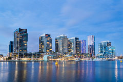 Apartment buildings in Melbourne. Night time image of apartment buildings in the Docklands area of Melbourne, Australia Stock Photography