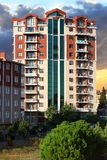 Apartment buildings. Multistoried modern living block of flats Royalty Free Stock Image