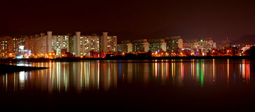 Apartment buildings at night Royalty Free Stock Photos