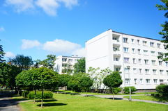 Apartment buildings and park Stock Images