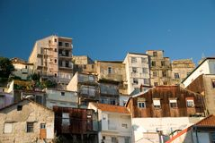 Apartment buildings in Porto, Portugal. Densely packed apartments on the side of a hill Stock Image