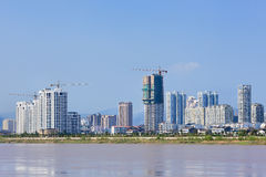 Apartment buildings with a river view, Wenzhou, Zhejiang Province, China Stock Photography