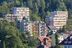 Apartment buildings in small town Royalty Free Stock Photo