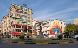Apartment buildings on street of Tirana royalty free stock images