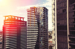 Apartment buildings in sunset. Apartment buildings in the sunset Royalty Free Stock Images