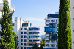 Apartment buildings in a tropical resort Royalty Free Stock Photo