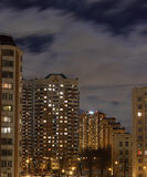 Apartment buildings in a typical street of Moscow at dusk Stock Photo