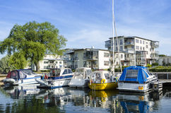 Apartment buildings by the water vastervik Royalty Free Stock Photos