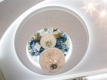 Apartment ceiling and chaliender. Apartment ceiling design and decoration Royalty Free Stock Photo