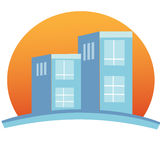 Apartment complex building logo. Apartment complex building and shinny sun logo vector eps10 Stock Image